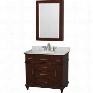 "Wyndham Collection WCV171736SCDCMUNRMED - 36"" Single Bathroom Vanity, White Carrera Marble Countertop, Undermount Round Sink, 24"" Medicine Cabinet"