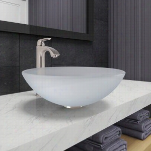 Vigo Industries VGT1091 - White Frost Glass Vessel Bathroom Sink and Linus Faucet Set in Brushed Nickel Finish