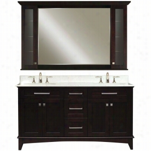 Water Creation MANHATTAN-60B - 60 In. Dark Espresso Double Sink Bathroom Vanity And Manhattan-MC-6036 Matching Medicine Cabinet