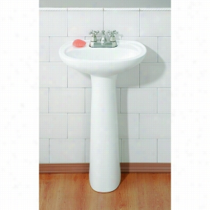 Cheviot 613-WH-1 - Pedestal Sink with Single Hole Drilling LESS Faucet