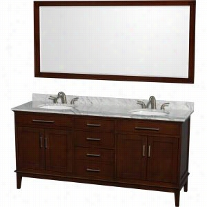 "Wyndham Collection WCV161672DCDCMUNRM70 - 72"" Double Bathroom Vanity, White Carrera Marble Countertop, Undermount Oval Sinks, & 70"" Mirror"