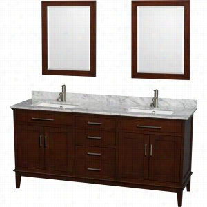 "Wyndham Collection WCV161672DCDCMUNSM24 - 72"" Double Bathroom Vanity, White Carrera Marble Countertop, Undermount Square Sinks, & 24"" Mirrors"