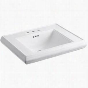 "Kohler K-2259-4-0 - 27"" Single Bowl Pedestal Class Design 3-Hole 4"" Centers Fireclay Bathroom Sink Only with Overflow, less Pedestal Base, 27"" x 22"