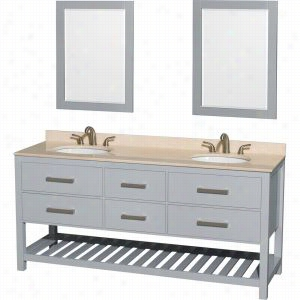 "Wyndham Collection WCS211172DGYIVUNOM24 - 72"" Double Bathroom Vanity, Ivory Marble Countertop, Undermount Oval sinks, & 24"" Mirrors"