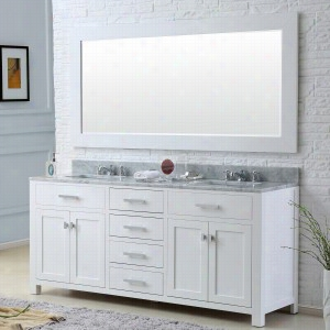 Water Creation MADISON-72W - 72 In. Solid White Double Sink Bathroom Vanity From The Madison Collection