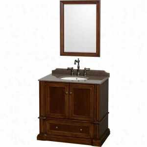 "Wyndham Collection WCVJ23136SCHIBUNOM24 - 36"" Single Bathroom Vanity in Cherry, Imperial Brown Granite Countertop, Undermount Oval Sink, & 24"" Mirror"