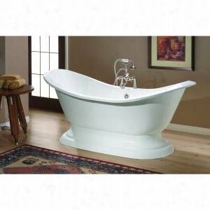 Cheviot 2151-WW-0 - Cast Iron Bathtub with Pedestal Base with Flat Area for Faucet Holes Undrilled LESS Faucet