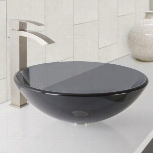 Vigo Industries VGT1035 - Sheer Black Glass Vessel Bathroom Sink and Duris Bathroom Vessel Faucet