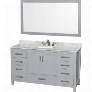 "Wyndham Collection WCS141460SGYCMUNOM58 - 60"" Single Bathroom Vanity, White Carrera Marble Countertop, Undermount Oval Sink, & 58"" Mirror"