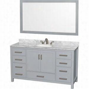 "Wyndham Collection WCS141460SGYCMUNOM58 - 60"" Single Bathroom Vanity, White Carrera Marble Countertop, Undermount Oval Sink, & 58"" Mirror"
