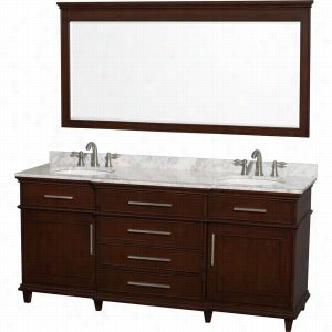 "Wyndham Collection WCV171772DCDCMUNRM70 - 72"" Double Bathroom Vanity in with White Carrera Marble Top with White Undermount Oval Sinks & 70"" Mirror"