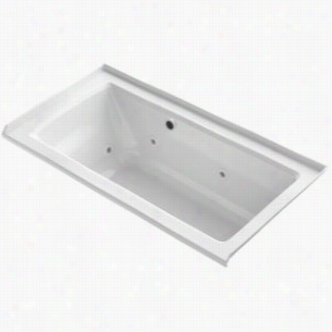"Kohler K-1947-RW-0 - 5 ft. Alcove Whirlpool ExoCrylic Jetted Bath Tub with 8 Jets, Bask Heated Surface, 3-Sided Integral Tile Flange and Right Hand Drain, 60"" L x 30 W x 19"" H"