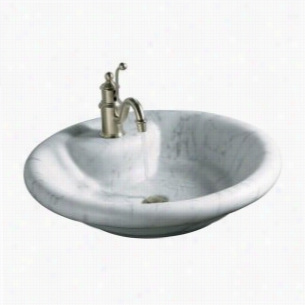 Kohler - K-2333-1-WH - Nature's Chemistry: Boticelli Vessels Marble Lavatory With Faucet Deck