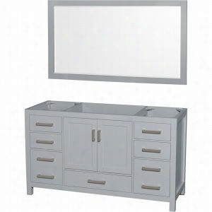 "Wyndham Collection WCS141460SGYCXSXXM58 - 60"" Single Bathroom Vanity, No Countertop, No Sink, & 58"" Mirror"