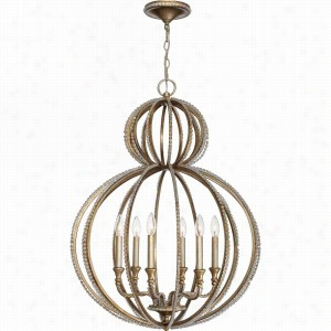 Crystorama Lighting CRY-6766-DT - Garland 6 Light Distressed Twilight Crystal Beads Chandelier