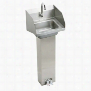 Elkay CHSP1716LRSC - Hand Wash-Up Pedestal Sink Package with Sidesplash, Foot Control & Spout