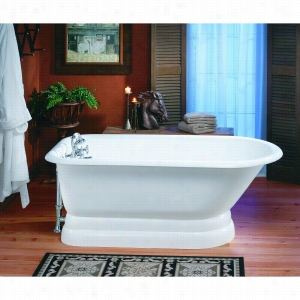 Cheviot 2118-WW - Cast Iron Bathtub with Pedestal Base and Continuous Rolled Rim LESS Faucet