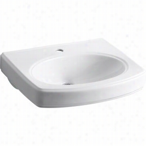 "Kohler K-2028-1-0 - 22"" x 18"" Single Bowl Pedestal 1-Hole Vitreous China Bathroom Sink Only with Overflow, Less Shroud"