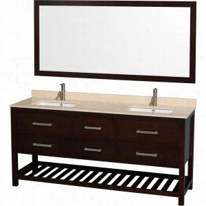 "Wyndham Collection WCS211172DESIVUNSM70 - 72"" Double Bathroom Vanity, Ivory Marble Countertop, Undermount Square sinks, & 70"" Mirror"