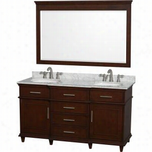 "Wyndham Collection WCV171760DCDCMUNRM56 - 60"" Double Bathroom Vanity in with White Carrera Marble Top with White Undermount Oval Sinks & 56"" Mirror"