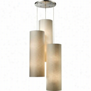 Elk Lighting 20160-12R - Fabric Cylinder 12 Light Round Pendant