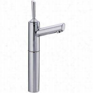 Whitehaus 33345C - Single hole stick handle elevated lavatory faucet