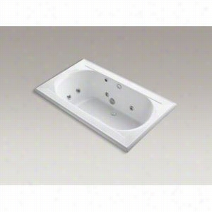 "Kohler - K-1418-HE-0 - 6 ft. Drop-In Whirlpool Acrylic Jetted Bath Tub with 8 Jets, Heater and Center Drain, Custom Pump Location, Less Jet Trim, 72"" L x 42"" W x 22"" H"