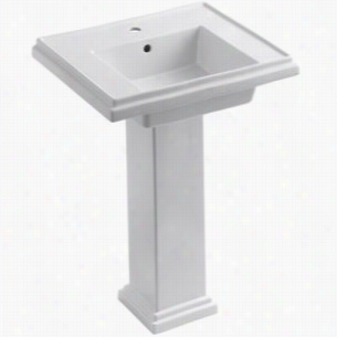 "Kohler K-2844-1-0 - 24"" Single Bowl Pedestal 1-Hole Fireclay Bathroom Sink with Overflow, 24"" x 19 1/2"" x 34 5/8"