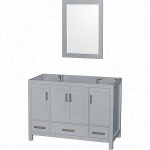 "Wyndham Collection WCS141448SGYCXSXXM24 - 48"" Single Bathroom Vanity, No Countertop, No Sink, & 24"" Mirror"