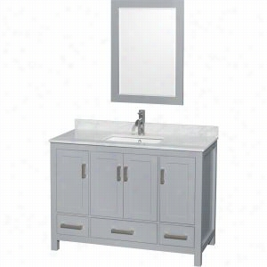 "Wyndham Collection WCS141448SGYCMUNSM24 - 48"" Single Bathroom Vanity, White Carrera Marble Countertop, Undermount Square Sink, & 24"" Mirror"