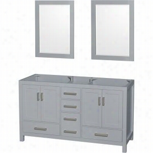 "Wyndham Collection WCS141460DGYCXSXXM24 - 60"" Double Bathroom Vanity, No Countertop, No Sinks, & 24"" Mirrors"