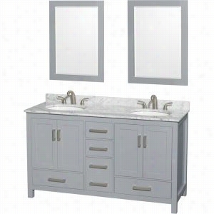 "Wyndham Collection WCS141460DGYCMUNOM24 - 60"" Double Bathroom Vanity, White Carrera Marble Countertop, Undermount Oval Sinks, & 24"" Mirrors"