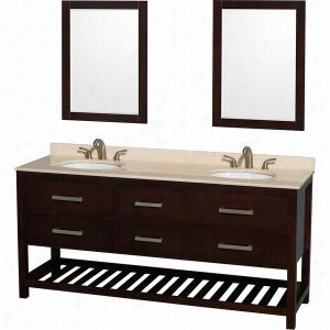 "Wyndham Collection WCS211172DESIVUNOM24 - 72"" Double Bathroom Vanity, Ivory Marble Countertop, Undermount Oval sinks, & 24"" Mirrors"