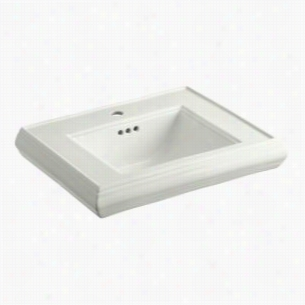 "KOHLER K-2239-1-NY - 24"" Single Bowl Pedestal Classic Design 1-Hole Fireclay Bathroom Sink Only with Overflow, 24"" x 19 3/4"