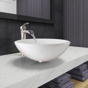Vigo Industries VGT1044 - White Phoenix Stone Vessel Bathroom Sink and Niko Faucet Set in Brushed Nickel Finish
