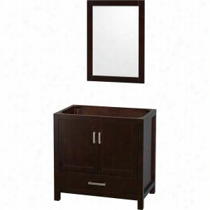 "Wyndham Collection WCS141436SESCXSXXM24 - 36"" Single Bathroom Vanity, No Countertop, No Sink, & 24"" Mirror"