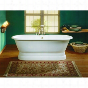 Cheviot 2139-WW - Cast Iron Bathtub with Pedestal Base and Continuous Rolled Rim No Faucet Holes LESS Faucet