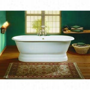 Cheviot 2139-WW - Cast Iron Bathtub with Pedestal Base and Continuous Rolled Rim No Faucet Holes LESS Faucet