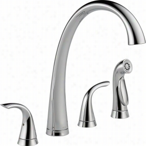 Delta Faucet 2480-DST - Two Handle Widespread Kitchen Faucet with Spray