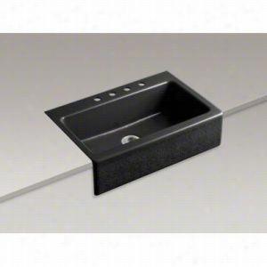"Kohler K-14580-KG-7 - 33"" Single-Basin Tile-In Alencon Lace Design on Dickenson Apron-Front Kitchen Sink with Integral Etched Apron, 33"" x 22-1/8"" x 8-3/4"