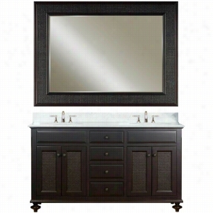 Water Creation LONDON-60B - 60 In. Dark Espresso Double Sink Bathroom Vanity And LONDON-M-6036 Matching Mirror