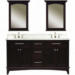 Water Creation MANHATTAN-60C - 60 In. Dark Espresso Double Sink Bathroom Vanity And Two Manhattan-M-2130 Matching Mirrors