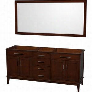 "Wyndham Collection WCV161672DCDCXSXXM70 - 72"" Double Bathroom Vanity, No Countertop, No Sinks, & 70"" Mirror"