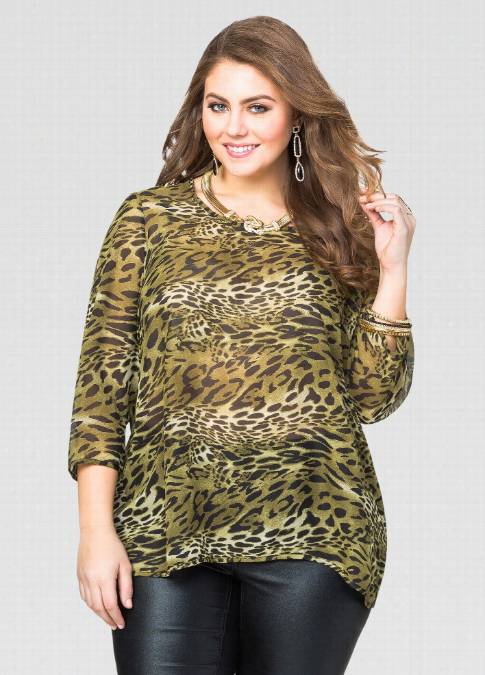 Animal Split Back Blouse