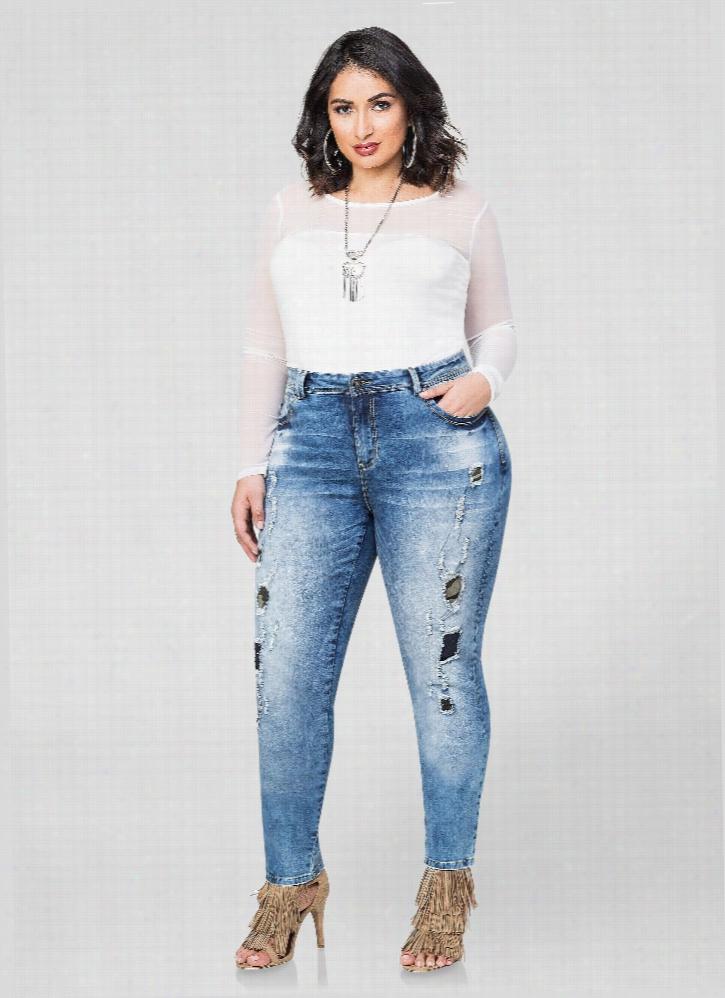 Camo Insert Destructed Skinny Jeans