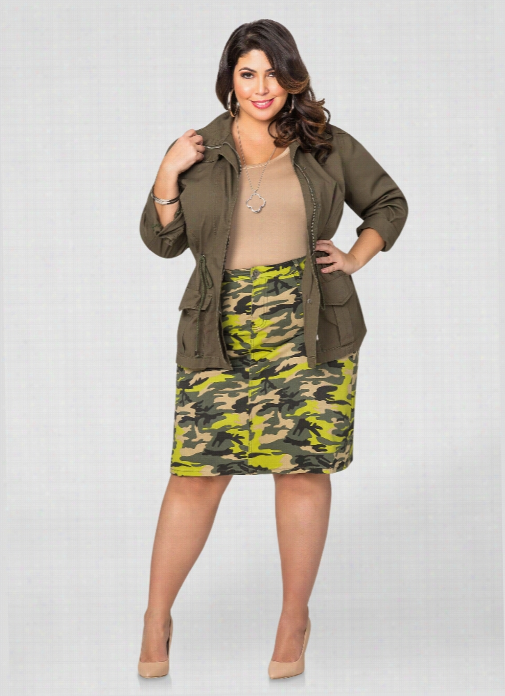 Camo Shirred Pocket A-Line Skirt