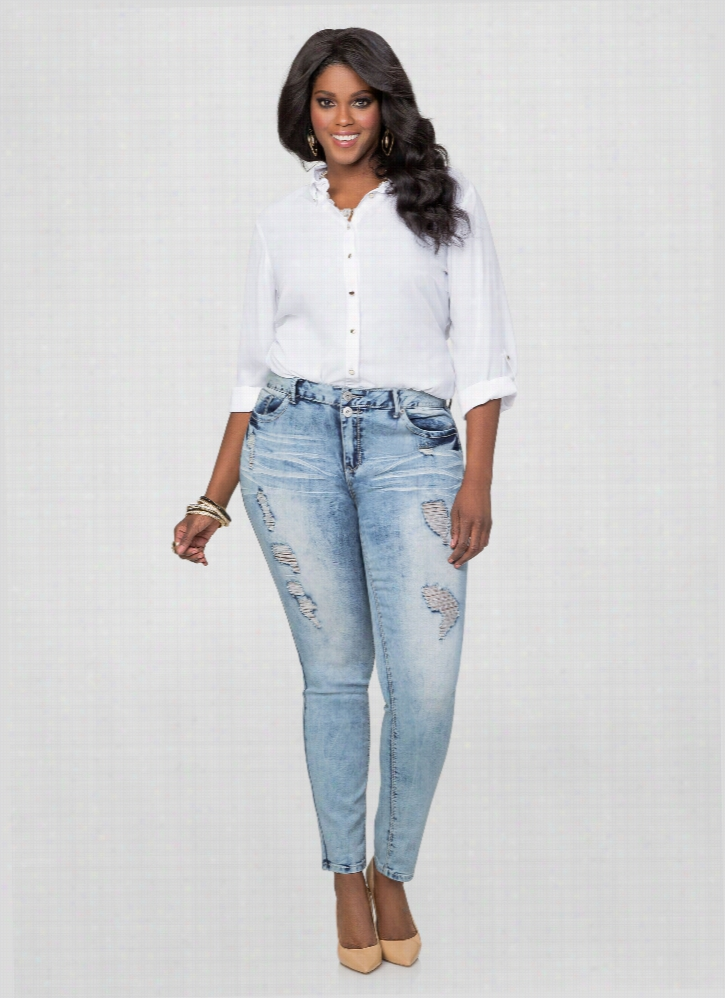 Destructed Crease Wash Skinny Jeans