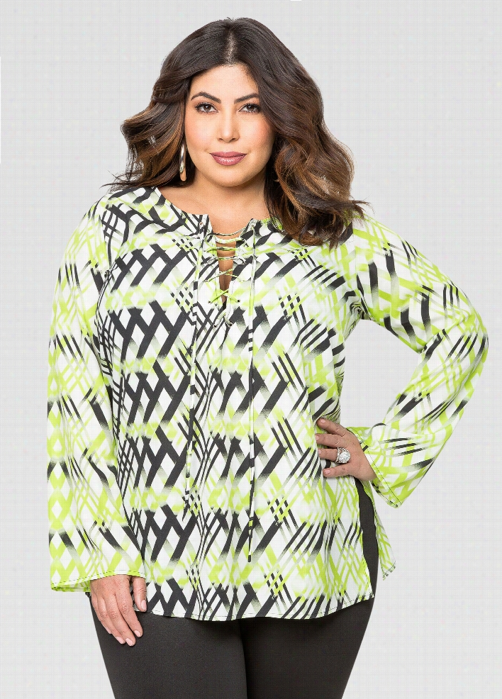 Geo Print Lace-Up Blouse