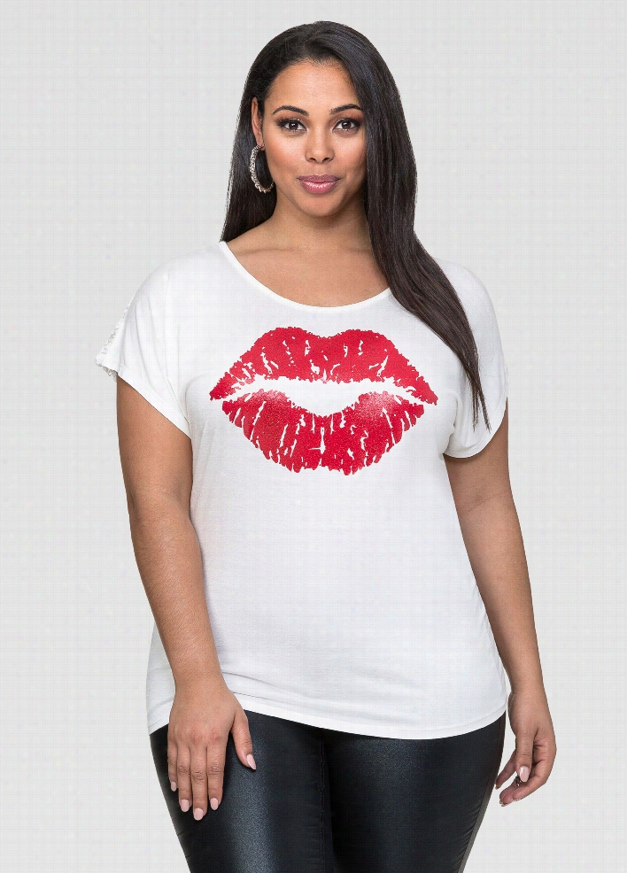 Lace Back Hot Lips Tee