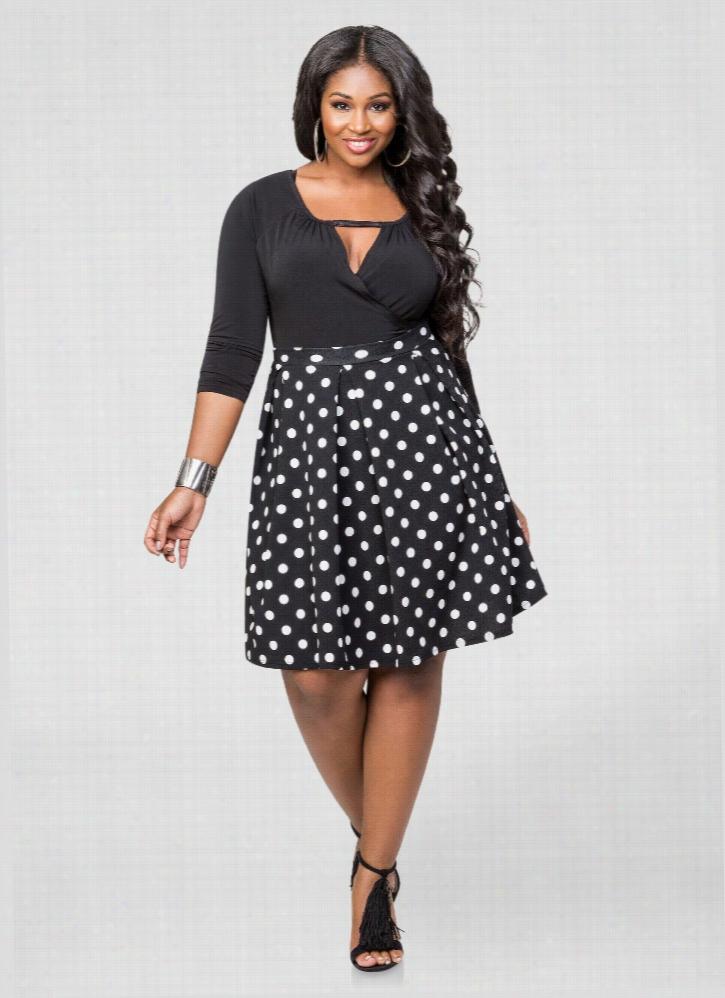 Polka Dot Box Pleat Skirt